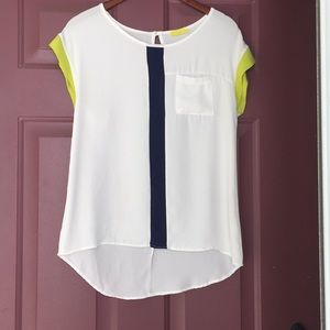 White Blouse with Navy/Green detail